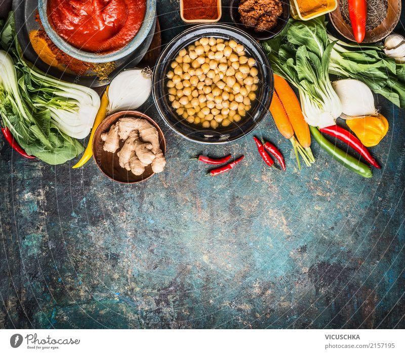 Vegetarische Kochzutaten für Kichererbsengericht Gesunde Ernährung Hintergrundbild Stil Lebensmittel Design Kräuter & Gewürze Gemüse Restaurant Bioprodukte