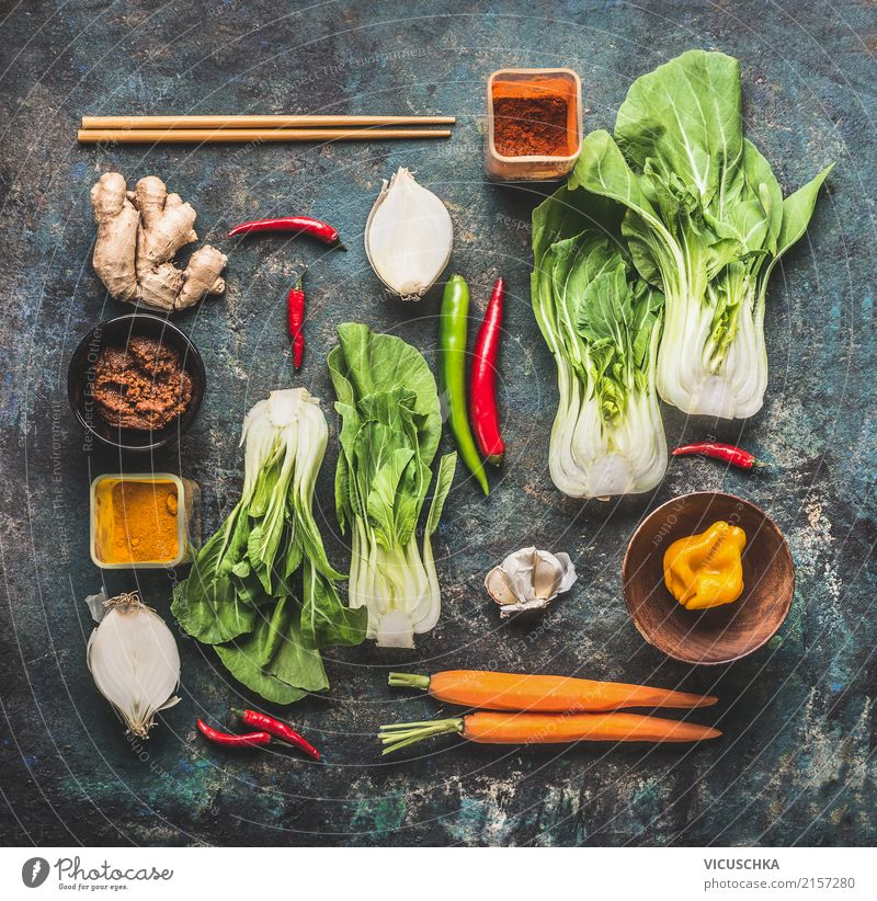 Asiatische Küche Zutaten Lebensmittel Gemüse Kräuter & Gewürze Ernährung Vegetarische Ernährung Diät Geschirr Stil Design Gesunde Ernährung Restaurant
