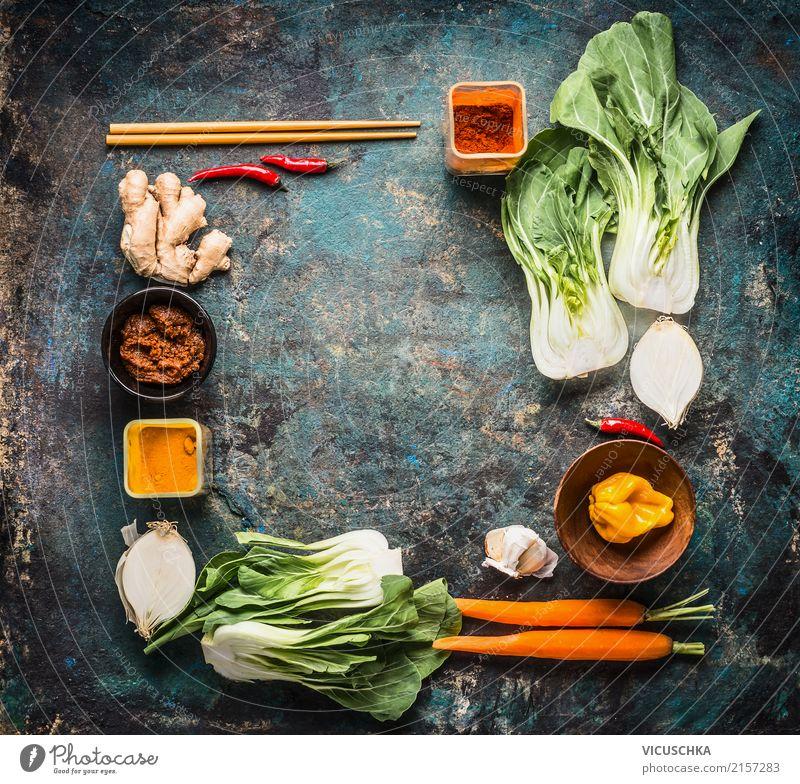Zutaten und Gewürze für Asiatische Küche Lebensmittel Gemüse Kräuter & Gewürze Ernährung Bioprodukte Vegetarische Ernährung Diät Geschirr Stil Design Gesundheit