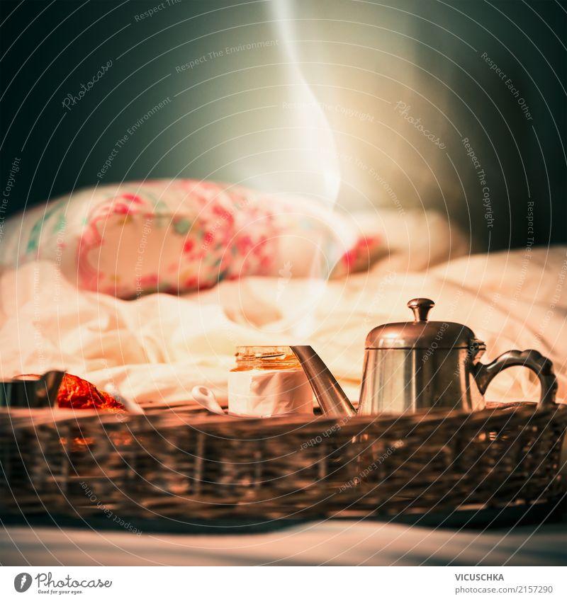 Wochenende Frühstück im Bett Ernährung Lifestyle Stil Design Ferien & Urlaub & Reisen Häusliches Leben Schlafzimmer weich Morgen Foodfotografie Stillleben