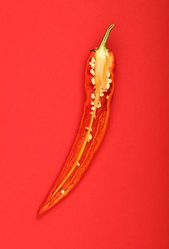 Hälfte des scharfen Paprikas über rotem Papierhintergrund Lebensmittel Gemüse Ernährung Bioprodukte Vegetarische Ernährung Diät Gesunde Ernährung Aggression