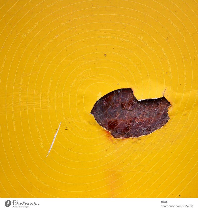 [HH10.1] - Der Lack ist ab alt gelb Farbe Farbstoff Metall kaputt Metallwaren Rost Fleck Luftblase Riss Untergrund abblättern Schaden