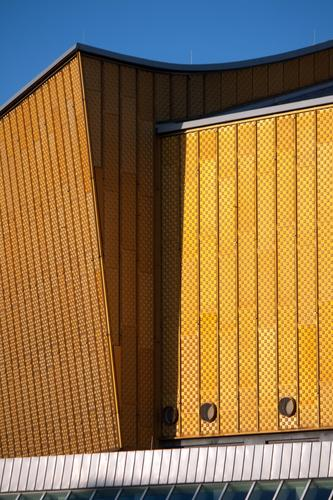 Berliner Philharmonie Architektur gelb Kunst Tourismus Fassade gold Musik Kultur Veranstaltung Konzert Bauhaus Kulturforum Berlin Konzerthalle Konzerthaus