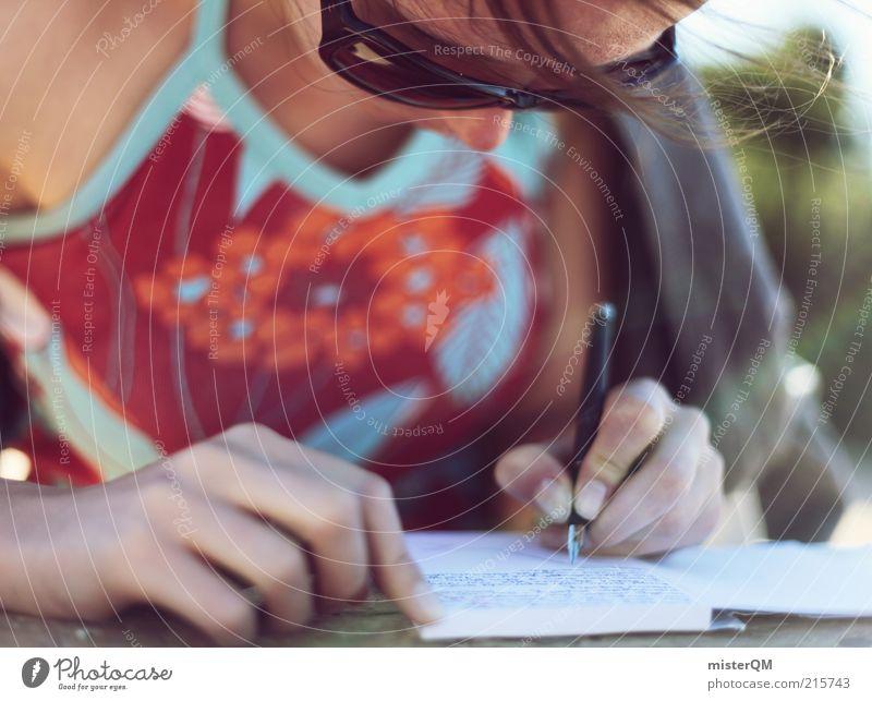 Dear Diary. Frau Hand Sommer Ferien & Urlaub & Reisen Erholung Haare & Frisuren Luft Wind Studium ästhetisch Schriftzeichen Student schreiben Papier Bildung Schreibstift