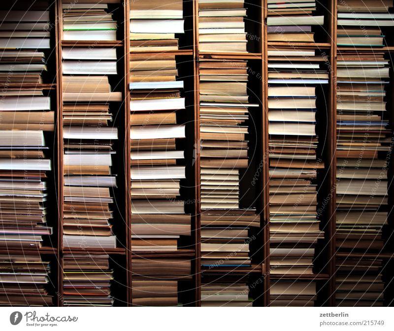 Buchmesse Wohnung Innenarchitektur Möbel Bildung Berufsausbildung Studium Büro Medien Printmedien Bibliothek verdreht Rückseite Regal Bücherregal Reihe viele