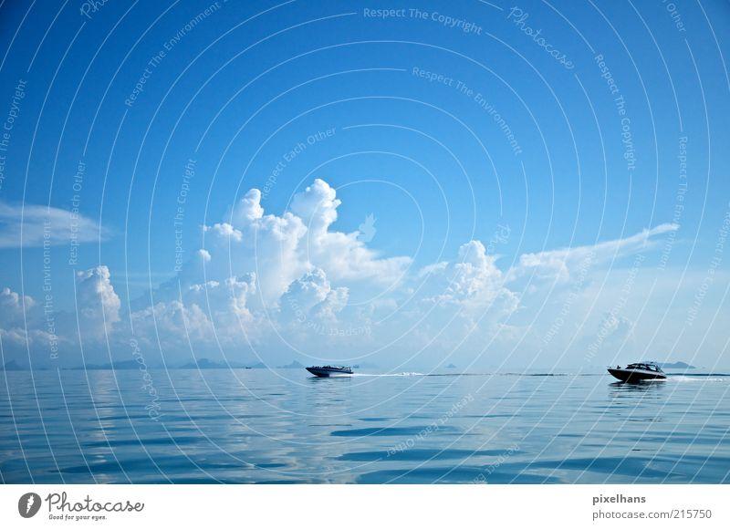 Renn Boot! Himmel Natur Wasser weiß blau Sommer Freude Meer Wolken schwarz Freiheit Landschaft Wasserfahrzeug nass Horizont Ausflug