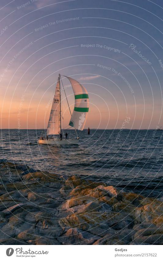Zieleinlauf Sport Segeln Sommer Küste Bucht Schifffahrt Segelboot Segelschiff Hafen fahren Blick sportlich maritim blau braun grün rosa weiß Freude