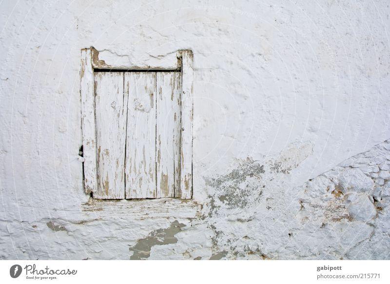 Weißraum Ferien & Urlaub & Reisen Ausflug Sommer Sommerurlaub Haus Mauer Wand Fenster alt weiß Lebensfreude Vergänglichkeit Kreta Holz gestrichen mediterran