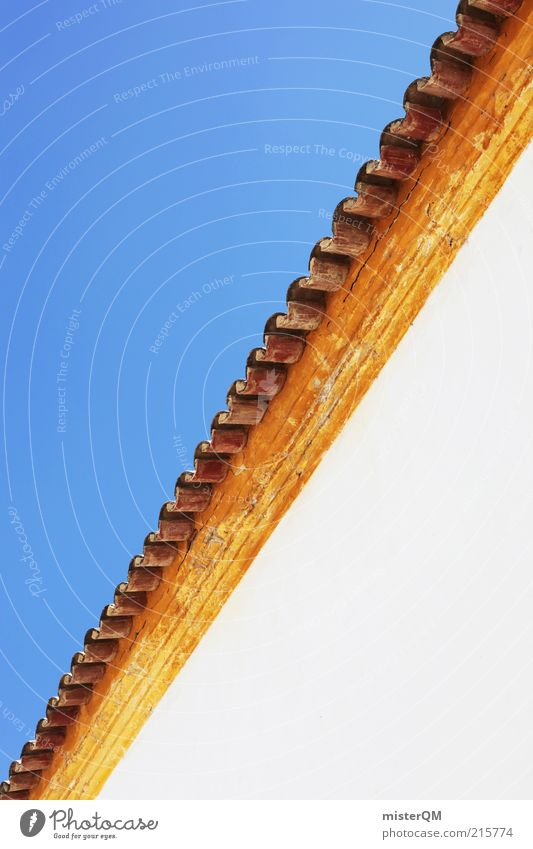 Mediterran. ästhetisch Symmetrie Strukturen & Formen quer Dachschräge mediterran Ziegeldach blau gelb rot weiß Sommer Mittelmeer Dachrinne Portugal Lagos