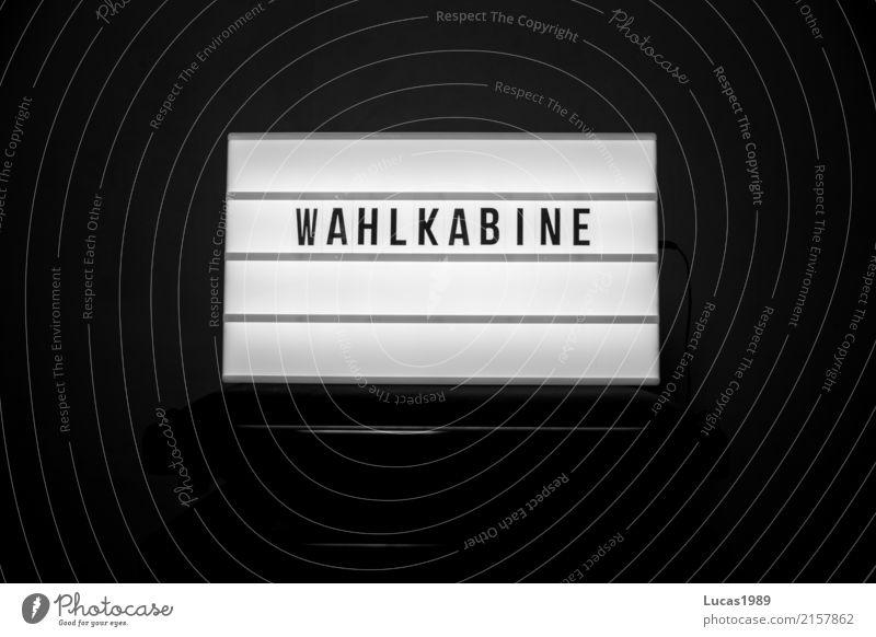 Wahlkabine Anzeige Lampe Leuchtreklame leuchten Wahlen Wahlkampf wählen Entscheidung Bundestagswahlen wähler Stimme stimmen Innenaufnahme Studioaufnahme