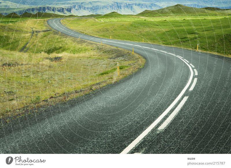 Islands Nr.1 Natur grün Landschaft Umwelt Ferne Wiese Straße Wege & Pfade grau Linie außergewöhnlich Erde Verkehr Schönes Wetter Idylle Urelemente