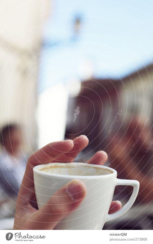 Auszeit. Ferien & Urlaub & Reisen Hand Erholung träumen Zufriedenheit ästhetisch Lifestyle Pause Kaffee Gastronomie genießen Tasse Café Momentaufnahme Seele gemütlich