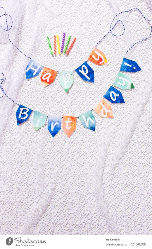 happy birthday Feste & Feiern Geburtstag Dekoration & Verzierung Kerze Zeichen Schriftzeichen Fahne Girlande retro blau orange weiß Happy Birthday Farbfoto