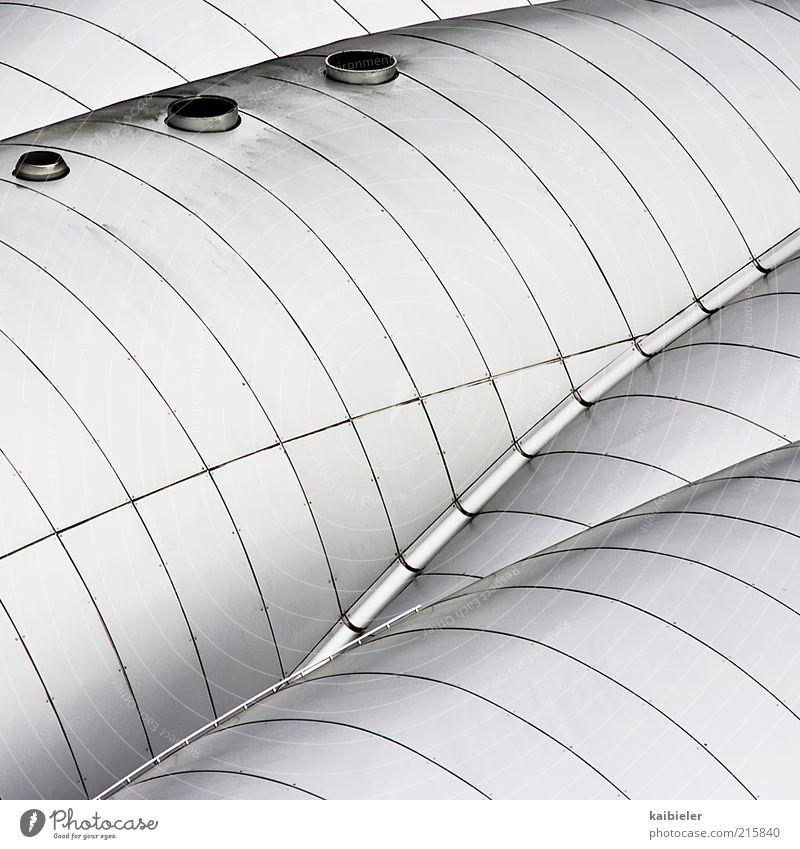 Organische Architektur weiß Haus kalt grau Gebäude Metall Linie modern ästhetisch Dach rund Bauwerk silber Lüftung