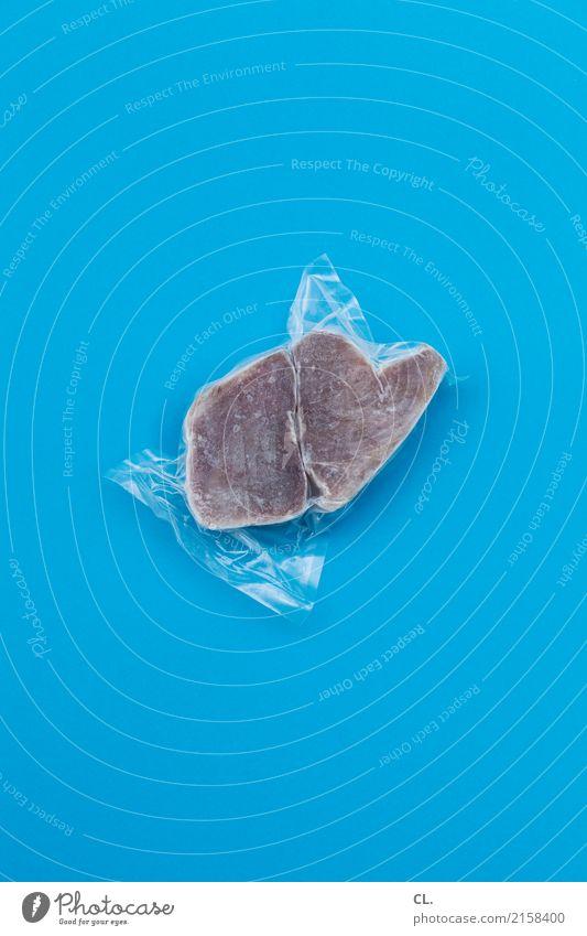 thunfischsteak, tiefgefroren Lebensmittel Fisch Ernährung Verpackung Kunststoffverpackung Essen kaufen einfach Billig kalt lecker blau Supermarkt