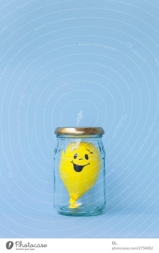 Feierlaune | konserviert Glas Party Feste & Feiern Geburtstag Luftballon Zeichen lachen warten Fröhlichkeit positiv blau gelb Gefühle Freude Glück Zufriedenheit