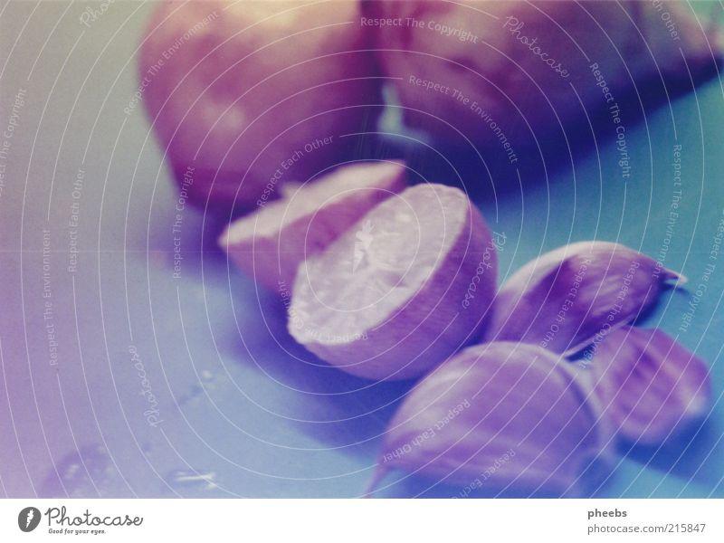 goldene zitronen. kochen & garen Knoblauch Schneidebrett Zutaten Wassertropfen Appetit & Hunger Mahlzeit Zitrone Zwiebel Teilung Unschärfe Menschenleer