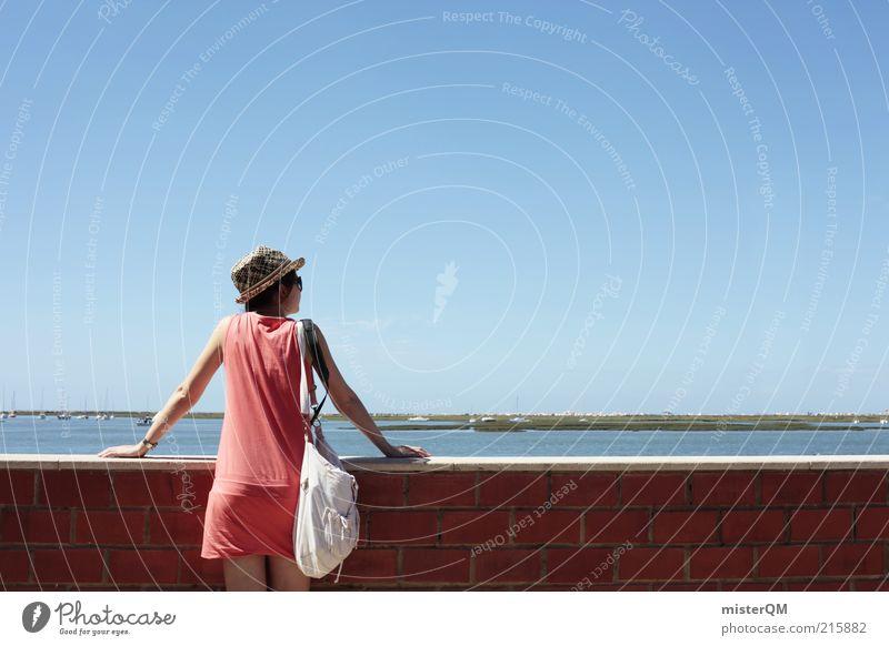 Open Mind. Frau Mensch Jugendliche Meer Ferien & Urlaub & Reisen Ferne Erholung feminin Wand Freiheit Mauer Denken Zufriedenheit Erwachsene Horizont