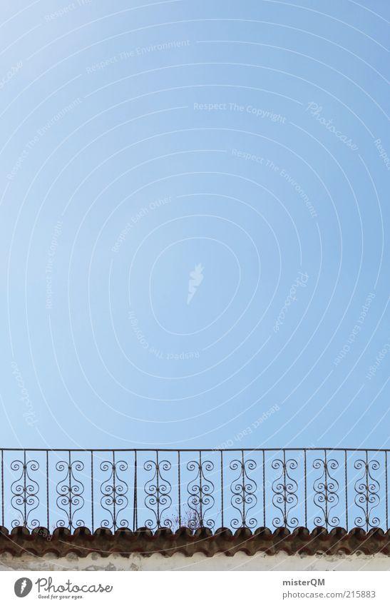 Aussicht. ästhetisch Freiheit Ordnung Schutz Symmetrie Trennung Geländer Zaun Barock blau Blauer Himmel Schönes Wetter Sommer mediterran Gußeisen Barriere offen
