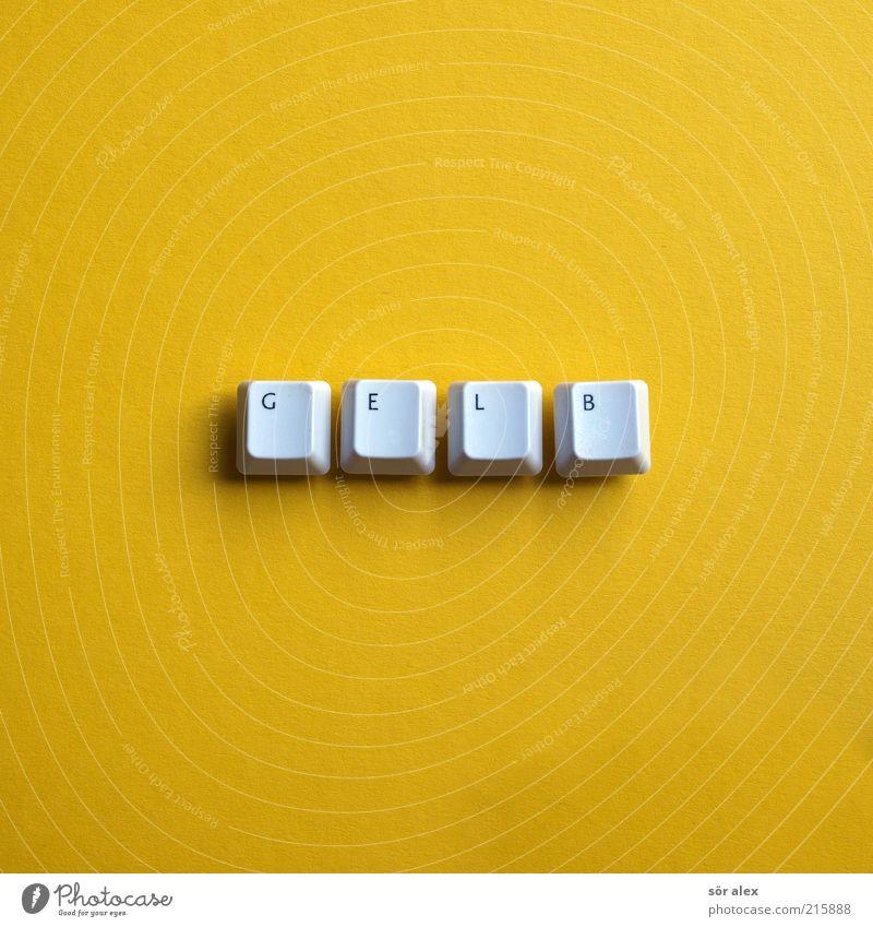 GELB Design Tastatur Buchstaben Wort Taste Kunststoff Zeichen Schriftzeichen Schilder & Markierungen eckig gelb schwarz weiß Fröhlichkeit Farbe Licht