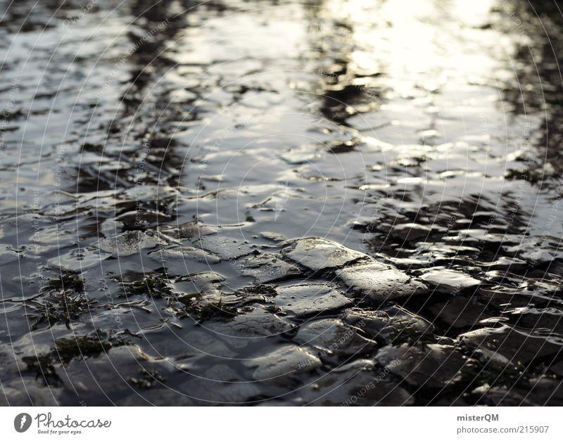Nasses Pflaster. Kunst ästhetisch Einsamkeit Endzeitstimmung Ewigkeit Inspiration Perspektive Surrealismus träumen Traumwelt nass Wasser Pflastersteine