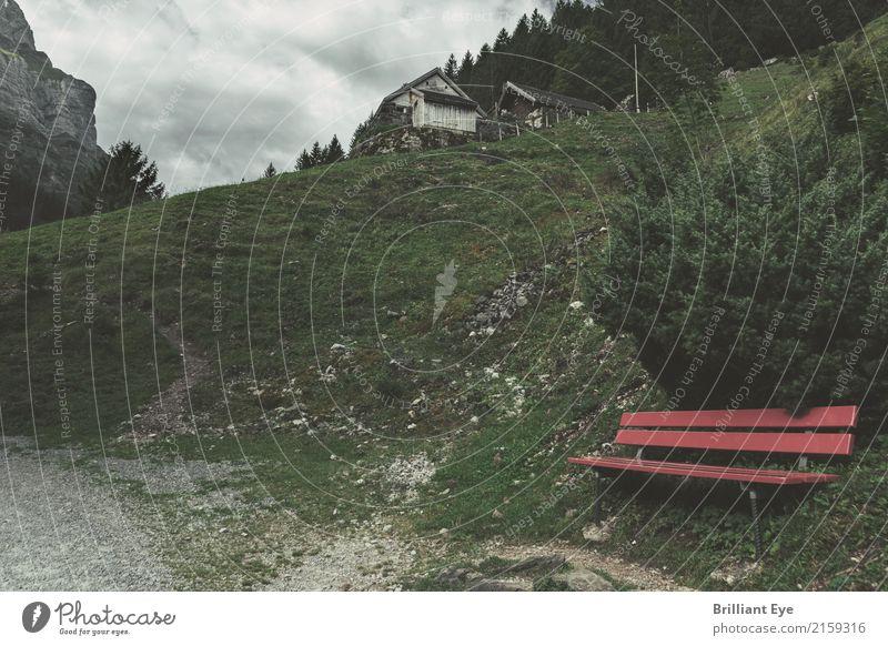 Pause machen Lifestyle Ferien & Urlaub & Reisen Tourismus Ausflug Berge u. Gebirge wandern Natur Landschaft Herbst retro rot Schweiz Alpstein Kanton Appenzell