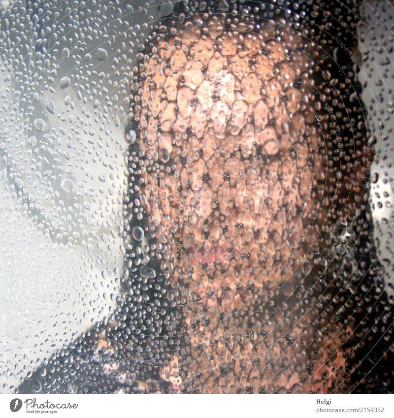 mit einem Netz verschleiertes Gesicht einer Frau hinter einer nicht ganz durchsichtigen Glasscheibe Mensch feminin Erwachsene Kopf 1 45-60 Jahre brünett