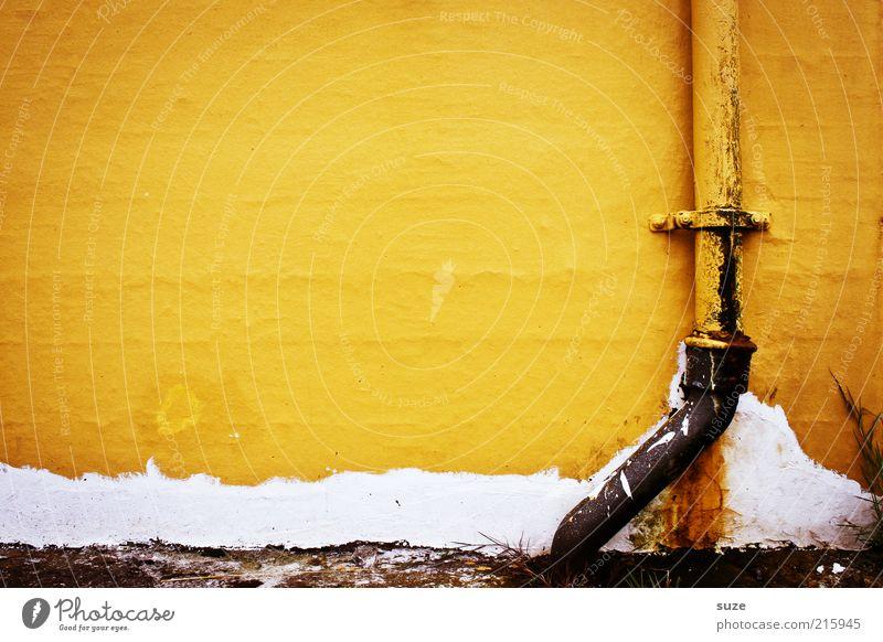 Hafengelb alt Haus gelb Wand Mauer Gebäude Linie Fassade authentisch Häusliches Leben Zeichen verfallen Rost Dachrinne mehrfarbig Anstrich