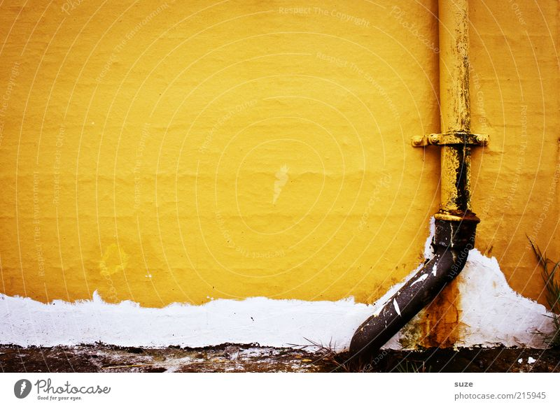 Hafengelb Häusliches Leben Haus Gebäude Mauer Wand Fassade Dachrinne Zeichen Linie authentisch Abwasser Regenrinne Sanitäranlagen Fallrohr Anstrich alt