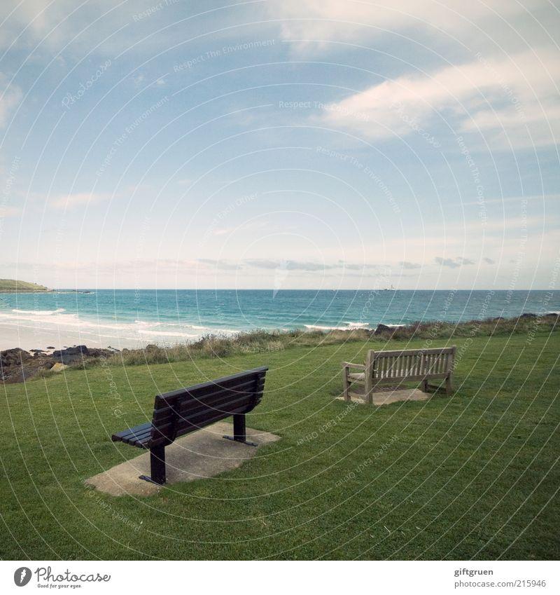 doppelte perspektive Natur Wasser Himmel Meer Sommer Strand Ferien & Urlaub & Reisen Wolken Ferne Wiese Landschaft Küste Wellen Umwelt Horizont paarweise