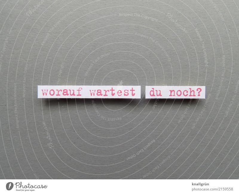 worauf wartest du noch? Schriftzeichen Schilder & Markierungen Kommunizieren warten eckig grau rot weiß Gefühle Vorfreude Mut Tatkraft Vorsicht geduldig Neugier