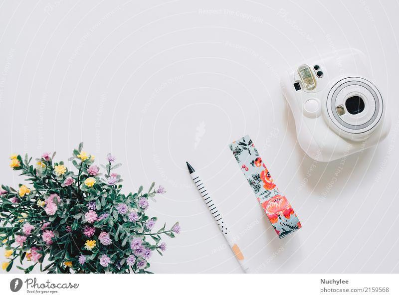 Kreative flache Laienhandwerksstil Lifestyle Stil Design Freude Sommer Dekoration & Verzierung Handwerk Fotokamera Kunst Natur Blume Mode Schreibstift hell