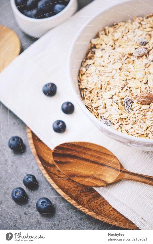 organische frische Blaubeere und Getreide Frucht Ernährung Frühstück Bioprodukte Diät Schalen & Schüsseln Löffel Gesunde Ernährung Papier Holz lecker natürlich