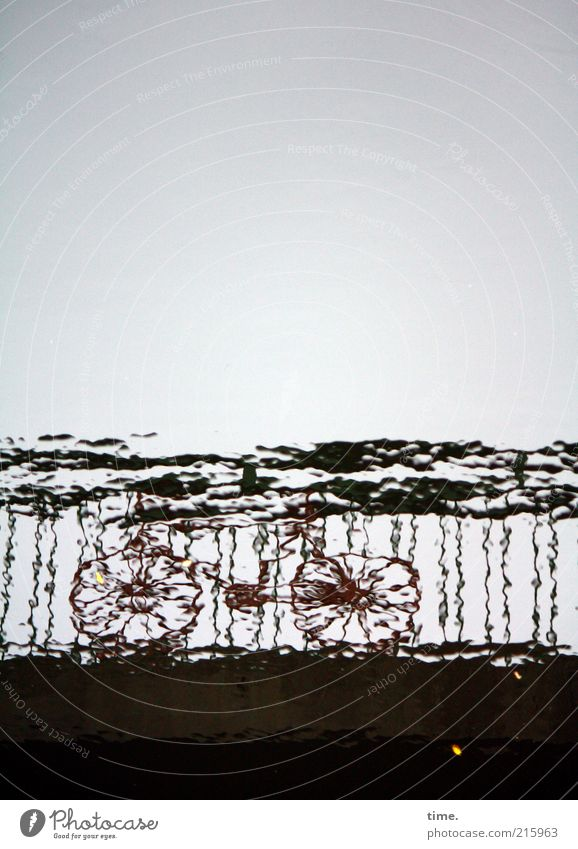 [HH10.1] - Wasserspocht Mensch Himmel Wasser Einsamkeit dunkel grau Metall Wellen Fahrrad Brücke fahren Metallwaren Geländer Brückengeländer Strebe unklar