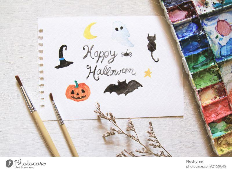 Happy Halloween-Grußkarte mit Aquarell gemalt Freizeit & Hobby Handarbeit Kunst Künstler Maler Kunstwerk Gemälde Blume Papier streichen Wasserfarbe Bürste