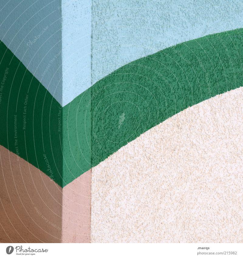 Abgehakt grün blau Wand Stil Farbstoff Mauer Architektur rosa Design elegant Beton ästhetisch Ecke einfach Streifen Grafik u. Illustration