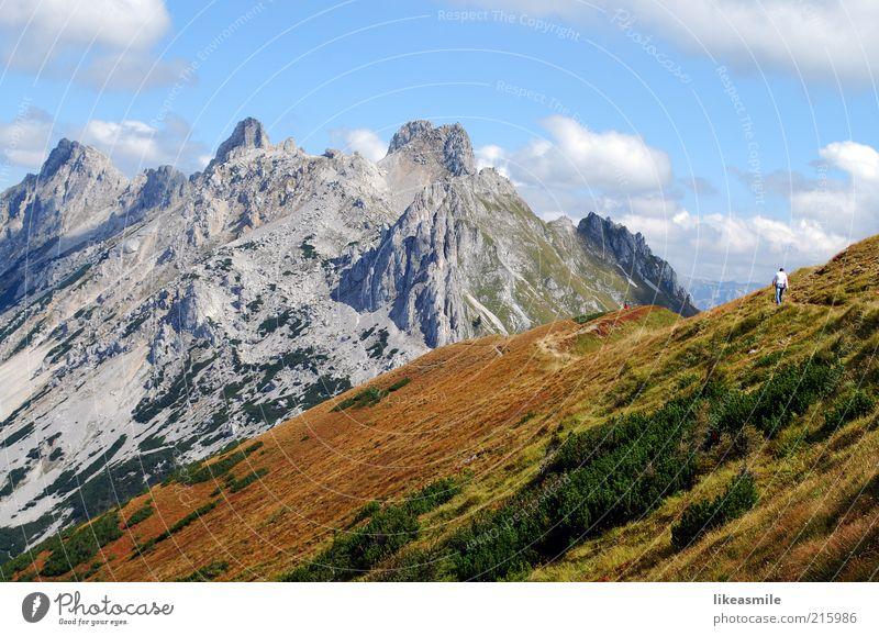 On the way up Himmel Natur Pflanze Ferien & Urlaub & Reisen Wolken Erholung Herbst Freiheit Berge u. Gebirge Landschaft Gras grau Freizeit & Hobby Ausflug