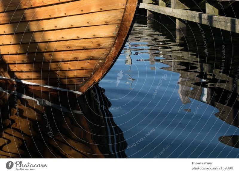 Holz Ferien & Urlaub & Reisen alt blau Sommer Wasser Meer ruhig Küste Sport braun Stimmung Freizeit & Hobby Zufriedenheit elegant ästhetisch