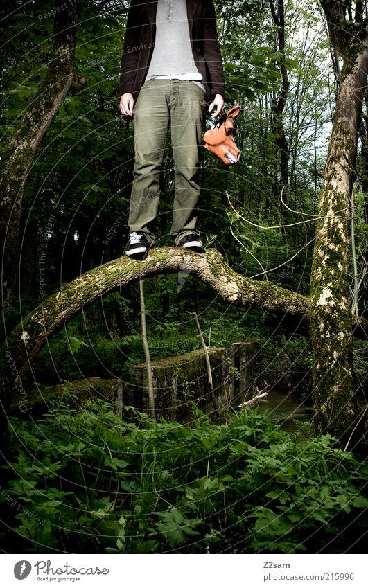 JASON WITH NEW MASK Mensch maskulin Umwelt Natur Landschaft Baum Sträucher Wald Maske stehen bedrohlich dunkel gruselig Angst gefährlich Halloween Filmfigur