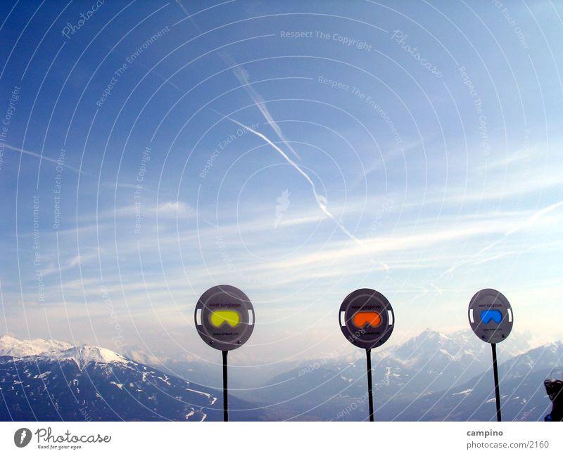 Nordpark Innsbruck Panorama (Aussicht) Sonnenbrille Winter Nordkette Berge u. Gebirge groß