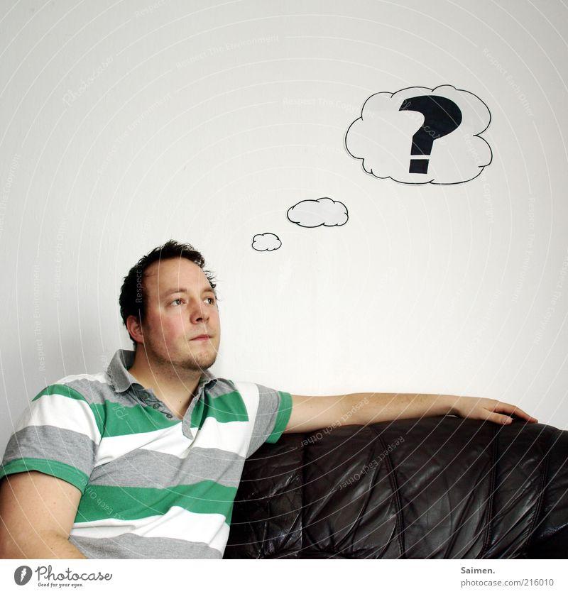 wenn de denkst... Mensch Mann Erwachsene Gesicht Kopf Denken träumen lustig Arme sitzen maskulin lernen nachdenklich Bildung Neugier skurril