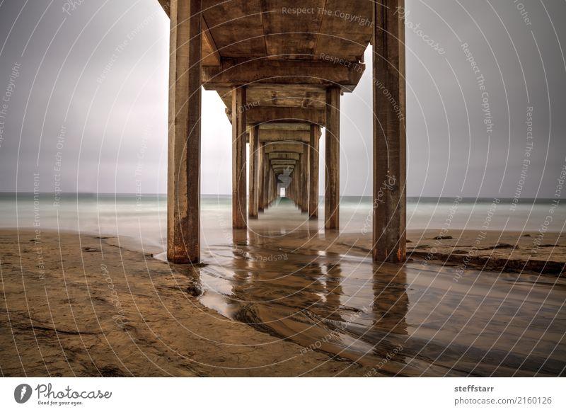 Unter dem Scripps Pier in La Jolla Ausflug Sommer Meer Wolken Küste Strand Hafenstadt Wege & Pfade Sand Beton Wasser blau braun gelb gold Scripps Strand