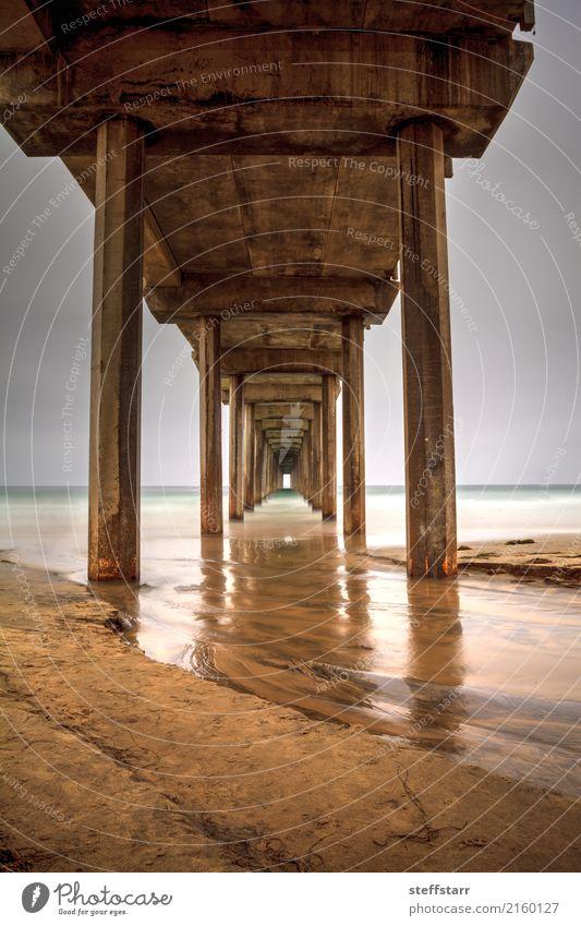 Unter dem Scripps Pier in La Jolla Ausflug Sommer Meer Natur Landschaft Wolken Küste Strand Wege & Pfade Ferien & Urlaub & Reisen blau braun gold Einsamkeit