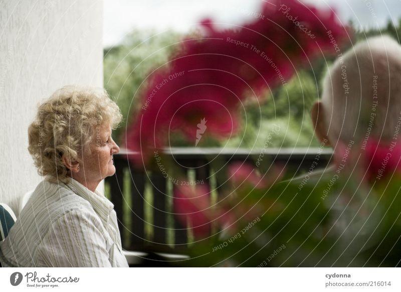 Mit den Gedanken woanders Wohlgefühl Zufriedenheit Mensch Weiblicher Senior Frau Männlicher Senior Mann Leben 2 Blume Balkon Erfahrung Freundschaft Gelassenheit