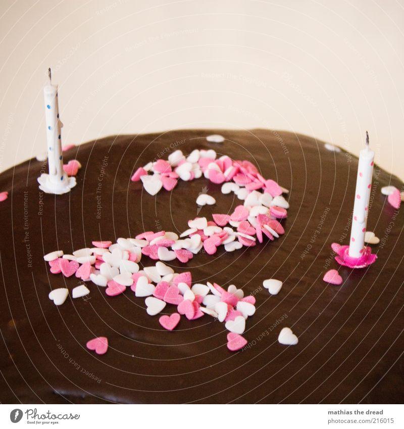 DEVILS FOOD CAKE Lebensmittel Teigwaren Backwaren Kuchen Dessert Schokolade Dekoration & Verzierung Kerze Zeichen Ziffern & Zahlen Herz rund süß braun Freude