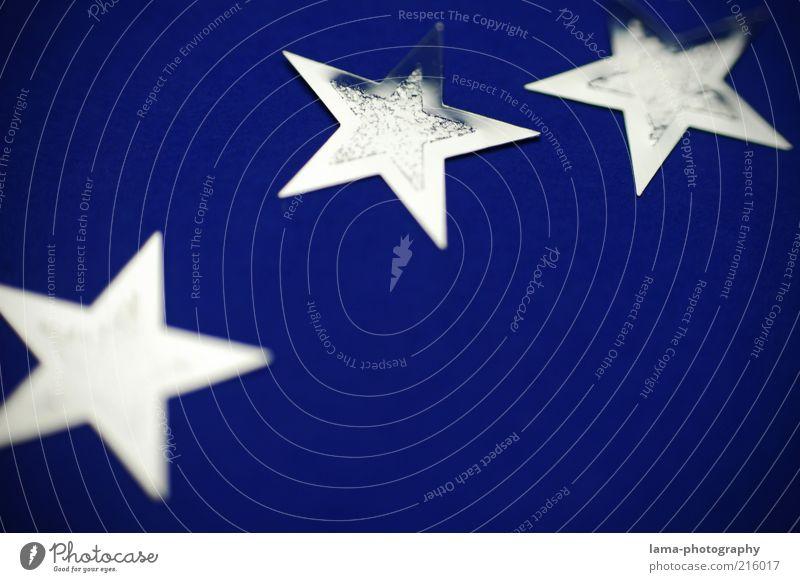 stars Weihnachten & Advent blau glänzend Stern (Symbol) Dekoration & Verzierung Postkarte silber Anschnitt Bildausschnitt Weihnachtsdekoration Weihnachtsstern Makroaufnahme