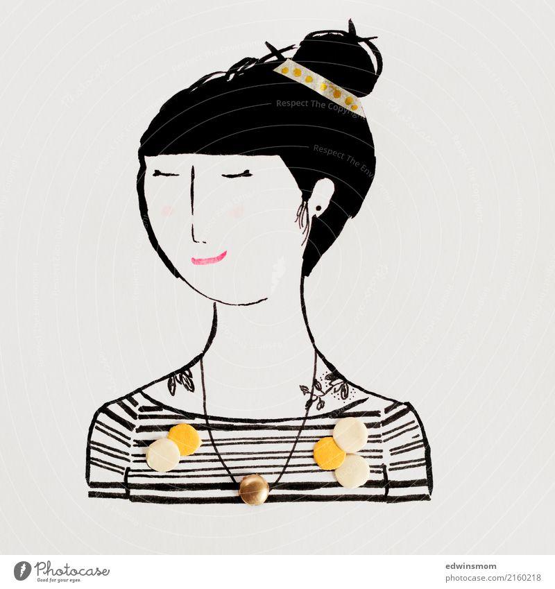 Dots and stripes Mensch Jugendliche Junge Frau schön weiß Erholung ruhig schwarz gelb natürlich feminin Linie Freizeit & Hobby träumen Dekoration & Verzierung