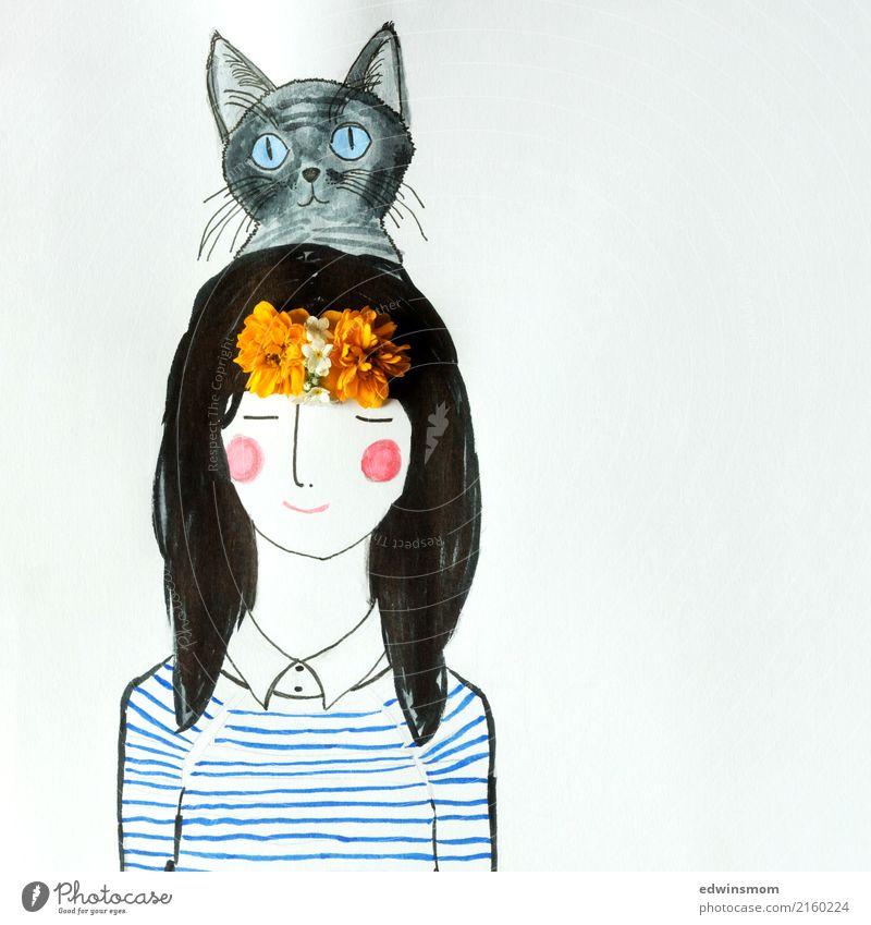 Hello Cat Freizeit & Hobby Basteln zeichnen feminin 1 Mensch Blüte Accessoire schwarzhaarig langhaarig Haustier Katze Papier Dekoration & Verzierung entdecken