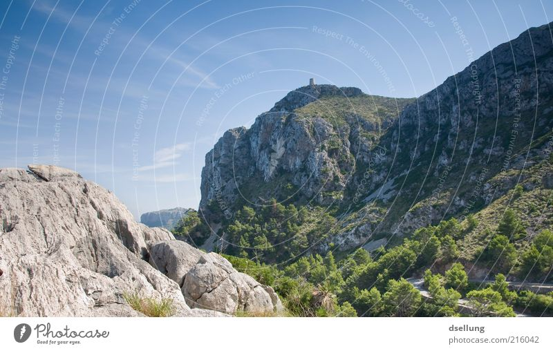 Mallorca V Umwelt Natur Landschaft Pflanze Erde Himmel Schönes Wetter Baum Gras Sträucher Wald Felsen Berge u. Gebirge Insel ästhetisch eckig elegant Ferne