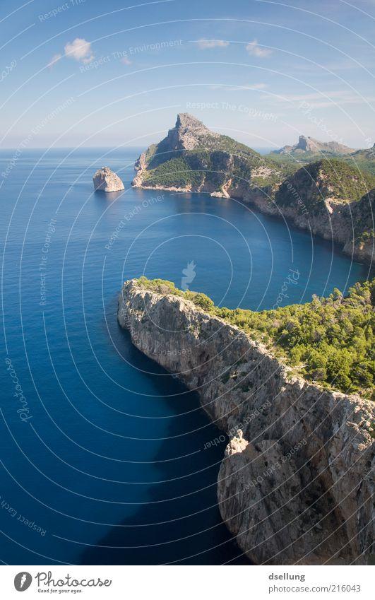 Mallorca VI Natur Wasser schön Himmel Baum Meer grün blau Pflanze Sommer Ferne Wald grau Wärme Landschaft braun